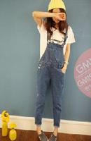 hot sell Good quality 2014 European style New Autumn Elastic Slim Women Jeans Denim Bib Pants Trousers brand clothing