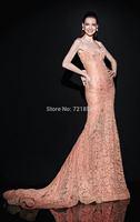 Sexy Mermaid Sweetheart Sleeveless Spaghetti Straps Backless LaceCrystals Beading See Through Evening Dress 2014 Tarik Ediz Prom