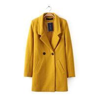 Women Coat 2014 Winter Woolen Overcoat Womens Fashion Trench Solid Long Woolen Coat Hot Free Shipping 3076