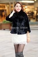 2014 New Autumn And Winter Women Fur Coat Black Large Fur Collar Long-Sleeve Artificial Mink Hair Design Short Outerwear