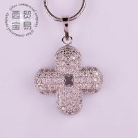 Fashion delicate shiny clover shape pendant necklace Austrian rhinestone  AAA Zircon free shipping DZ011