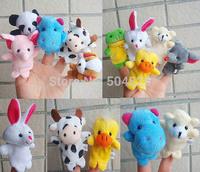 wholesale 1000pcs/lot (10 animal group) baby plush toys animal finger puppets dolls