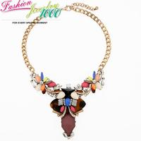 Hot Sale Luxury Irregular Crystal Flower Pendant Necklace Fashion Vintge Chunky Statement Choker Jewelry for Women Dress Party