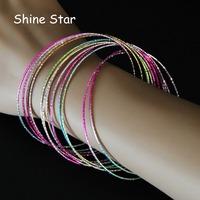 Fashion Indian Style Multirow Iridescent Silver/Rainbow Color Metal Circles Cuff Bangle Bracelet Women Costume Jewelry Item,C35