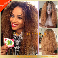2015 New 20-24'' Two Tone#1b/30 Ombre Full Lace Wig Kinky Curly/Brazilian Lace Front Hair Wigs Glueless Lace Wig Bleached Knots