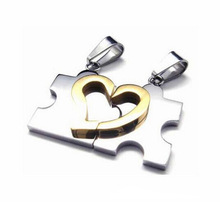 2Pcs Trendy Romantic Stainless Steel Heart Love Puzzle Jagsaw Lovers Necklace Beads Couple Necklace Love Gift New Arrival