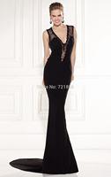 Sexy Mermaid V-neck Black Sequins Sleeveless Tank Backless LaceCrystals Beading See Through Evening Dress 2014 Tarik Ediz Prom