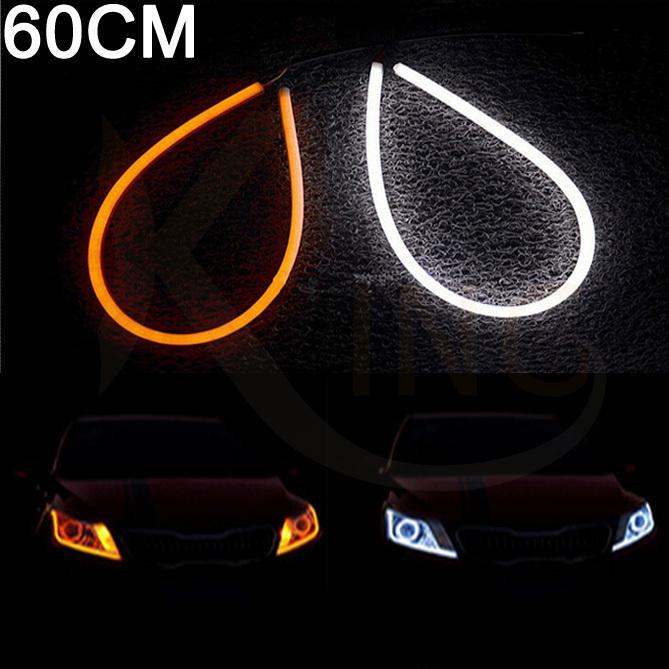 2 pcs 60cm DIY White Amber Flexible Switchback Strip Tube Style Angel Eye DRL LED Daytime Runing Light Head Lamp Headlight(China (Mainland))