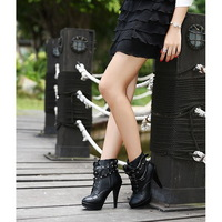Black Women Motorcycle Boots Ankle Strap Womens Riding Boots Faux Leather Spike Sexy Ladies Autumn Boots Shoes Wholesales