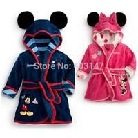 Charactor Robe Fleece Bathrobe Kids Children's Roupao De Banho Robes Christmas Baby Clothing Bath Robe Albornoz Infantil Minnie_