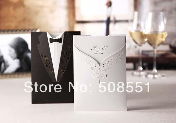 frete grátis corte a laser convites de casamento personalizado noivo e noiva preto cartão de convite de casamento branco convite elegante(China (Mainland))
