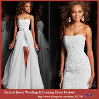 Pure White Sweetheart 2 in 1 Beaded/Appliqued Satin Wedding Dress with Detachable Skirt in Lace-Up Back