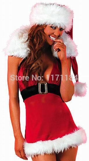 Free Shipping Christmas Mini Dress Adult Women Christmas Dresses With Hood Sexy Santa Dress(China (Mainland))