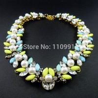 Pearl Yellow Rhinestone New Design Resin Chain Bib Chunky Choker Ethnic Statement Necklaces Jewelry For Women