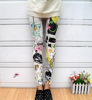 2014 New Fashion Personalized Cartoon Leggings Graffiti tenths pants Free Shipping