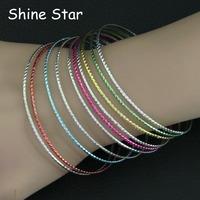 Fashion Indian Style Multirow Iridescent Rainbow Mix Color Metal Circles Cuff Bangle Bracelet Women Costume Jewelry Item,C38