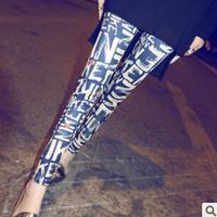 2014 New Fashion Retro print graffiti women leggings Colored letters milk silk tenths pants Free Shipping