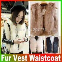 Free Shipping 2014 Short Coat For Female Wome Fashion Winter Sleeveless Warm Faux Short Fur Vest Waistcoat Retail Joker Brand