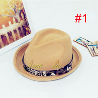 2014 New Fashion 100% WOOL Baby Spring and autumn and winter Fedora Hats Girls Top Hat Children Felt Hat 5pcs Free Shipping