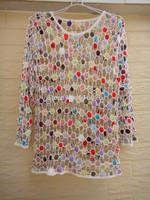 White Womens Sheer Blouse Long Sleeve Jumper Handmade Crochet Top Polka Dot Pattern