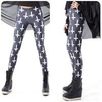 2014 New Fashion Street beat milk silk women leggings Cross printing was thin tenths pants Free Shipping