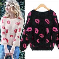 2014 Loose Women mohair lips pattern knitted sweater, women winter sweater, sweater woman, womens sweaters, sueter feminino