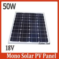50W 18V monocrystalline silicon Solar Panel used for 12V photovoltaic power home system, 50Watt 50WP 12VDC PV mono solar Module