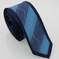 YIBEI Coachella Man Fashion Woven ties Navy Bordered Necktie Blue Plaids Wave Striped Jacquard Narrow Neck Tie For Promotion