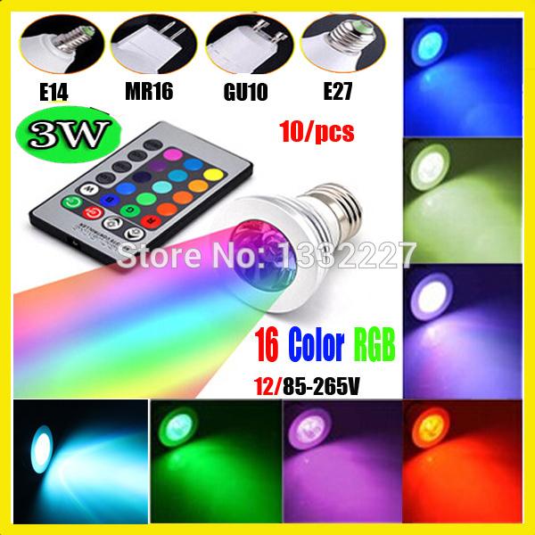 10/pcs RGB led bulb GU10 E27 E14 MR16 3W 12V 110V 220V RGB Color Changeable LED Light Bulb lamps Wireless Remote(China (Mainland))