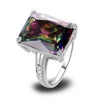 Wholesale 2014 New Fashion Jewelry Exalted 925 Silver Ring Inlay Rainbow Topaz Gift For Women Size 7 8 9 10