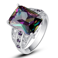 Wholesale 2014 New Fashion Jewelry Rare 925 Silver Ring Inlay Rainbow Topaz Gift For Women Size 8 9