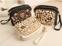 2014 new pearl chain clutch handbag retro portable shoulder diagonal package female bag small bag ,Free Shipping