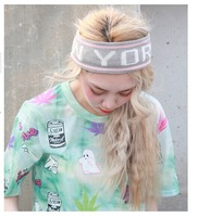 KKXX hello letter movement knitting wool elastic ultra wide hair band hat Sports knitted hair band