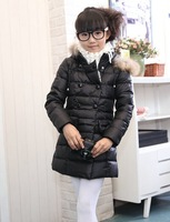 2014 winter down jackets for girls Fur collar winter coat girl warm down coat 90% White duck down 3pcs/lot