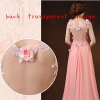 Newest arrival brand design sexy v neck evening dress party dress women's sexy back transparent dress with handmade flower beads