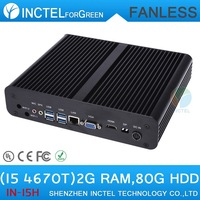 Embedded Fanless PC i5 with Intel Quad Core i5 4670T 2.3Ghz CPU HDMI VGA DP Three display 16G RAM 640G HDD Windows Linux