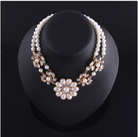 2014 Hot Fashion Elegant  European Style Pearl Choker Necklace With a Flower For Women N1792
