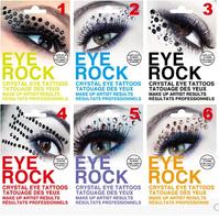 Hot-selling fashion eye rock eye shadow stickers eye make up rhinestone stick decoration 6 style