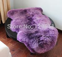 120*75 free shipping Luxury Shaggy Wool Fur Carpet Sheepskin Lamp coat  Super Soft Rug Bed Chair Cover FloorSeat Mat Pad purple