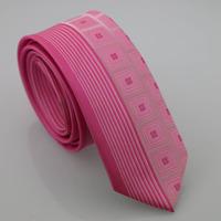 YIBEI Coachella Man Fashion Skinny Neckties Slim Jacquard Hot Pink Ties Checked  Woven Vertical Stripes Narrow Neck Tie Wedding