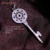 100% Pure 925 sterling silver Jewelry Luxury & Elegant shiny Ziron key pendants for women statement necklace Fine Jewelry TD01
