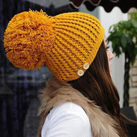 2014 new Korean female super Sphere knit hat hat buttons B084 wholesale stocking cap