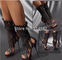 Hottest 2014 Designer Sculpts Textures Buckle Heels Sandals Cut-out Ankle Summer Boots Drop Shipping