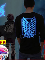 Hot anime Attack on titan elen eren cosplay costume freedom wings long sleeve tshirt light noctilucence tee