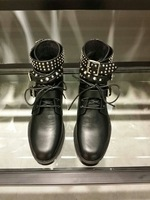 fashionville* free ship! u145 40 black genuine leather studded belt short boots