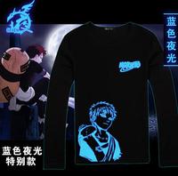 Hot anime Naruto kakasi Uchiha Sasuke Sabaku No Gaara cosplay costume long sleeve tshirt light noctilucence tee
