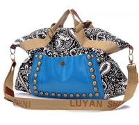 2014 Hot Fashion Women Ladies Prints Studded Rivets Travel Handbag Purse Shoulder Strap Bags Tote Vintage Canvas Casual bolsos