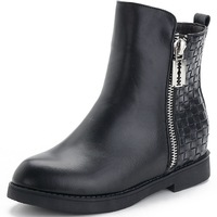 High Quality 2014 New Europe And The United States Sexy Ankle Boots Flat Heeled Women's Motorcycle Shoes Black Warm Winter