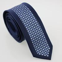 YIBEI Coachella Man Fashion Skinny Neckties Slim Jacquard Gravatas Navy Bordered Ties Sky Blue Polka Dot Narrow Neck Tie Wedding