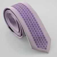 YIBEI Coachella Man Fashion Skinny Neckties Slim Jacquard Gravatas Lilac Bordered Ties Purple Polka Dots Narrow Neck Tie Wedding